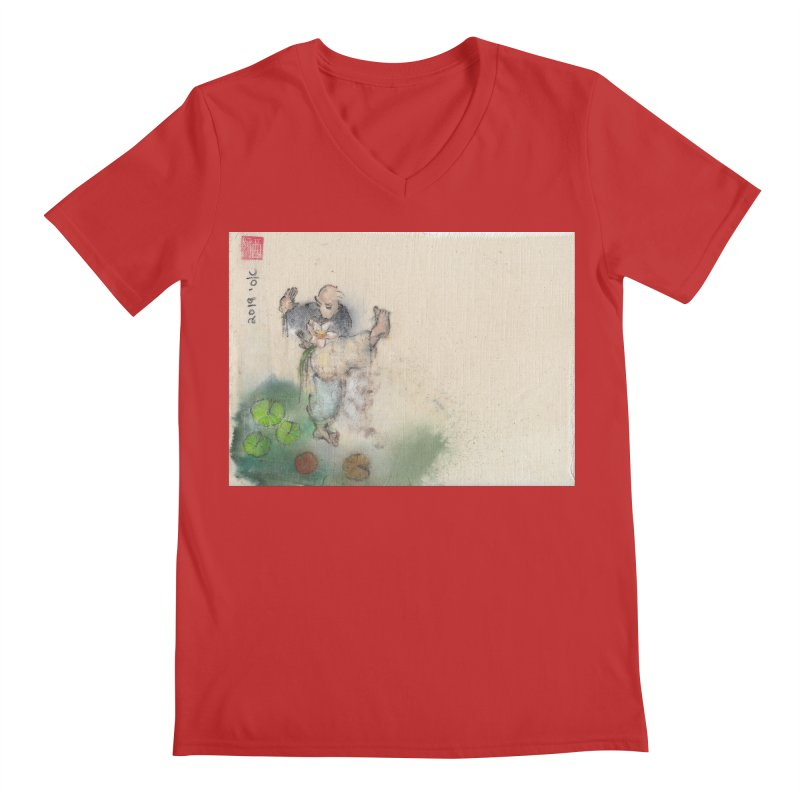 Turn Body And Sweep Lotus With Leg Men's Regular V-Neck by arttaichi's Artist Shop