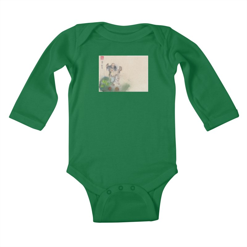 Turn Body And Sweep Lotus With Leg Kids Baby Longsleeve Bodysuit by arttaichi's Artist Shop