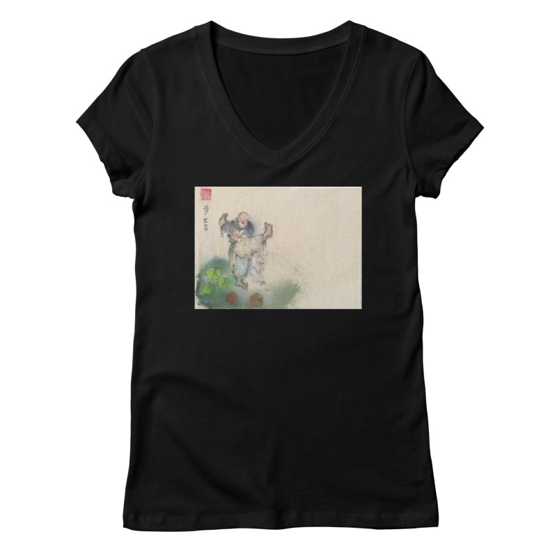 Turn Body And Sweep Lotus With Leg Women's V-Neck by arttaichi's Artist Shop