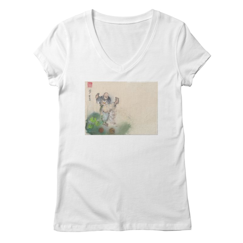 Turn Body And Sweep Lotus With Leg Women's Regular V-Neck by arttaichi's Artist Shop