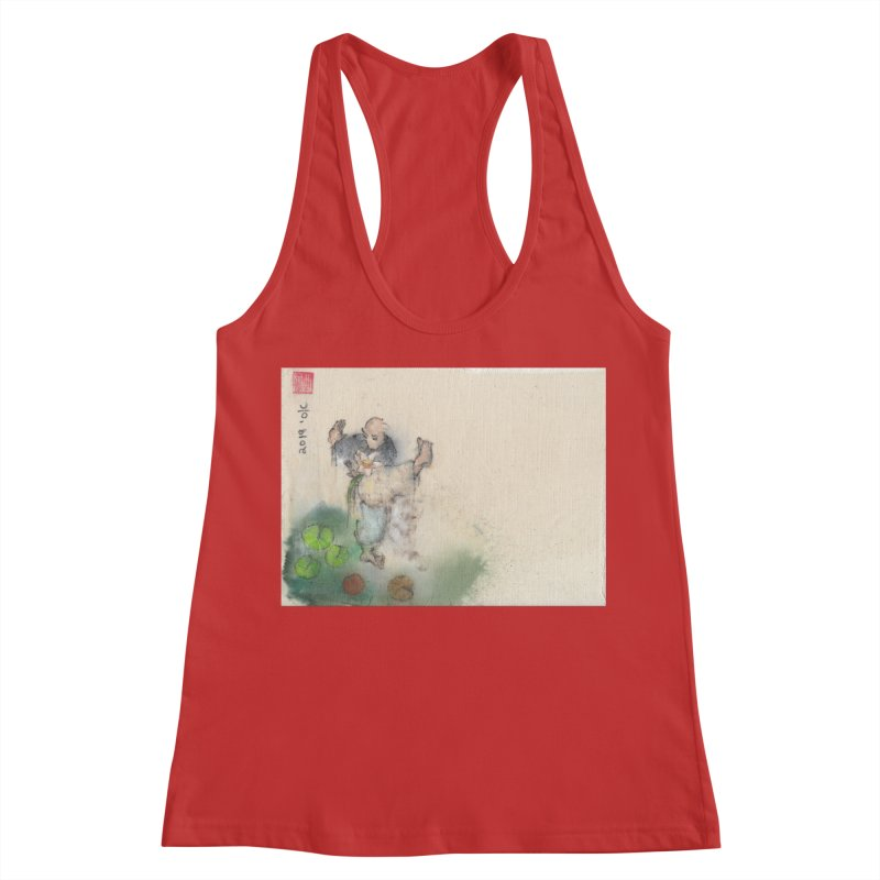Turn Body And Sweep Lotus With Leg Women's Racerback Tank by arttaichi's Artist Shop