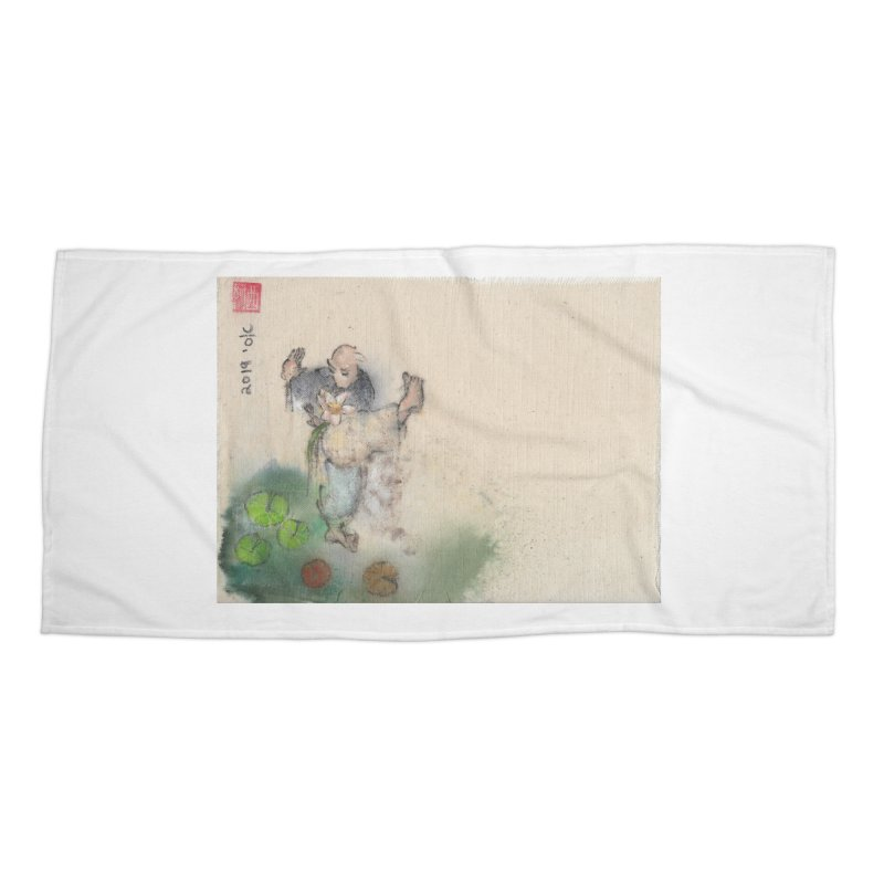 Turn Body And Sweep Lotus With Leg Accessories Beach Towel by arttaichi's Artist Shop
