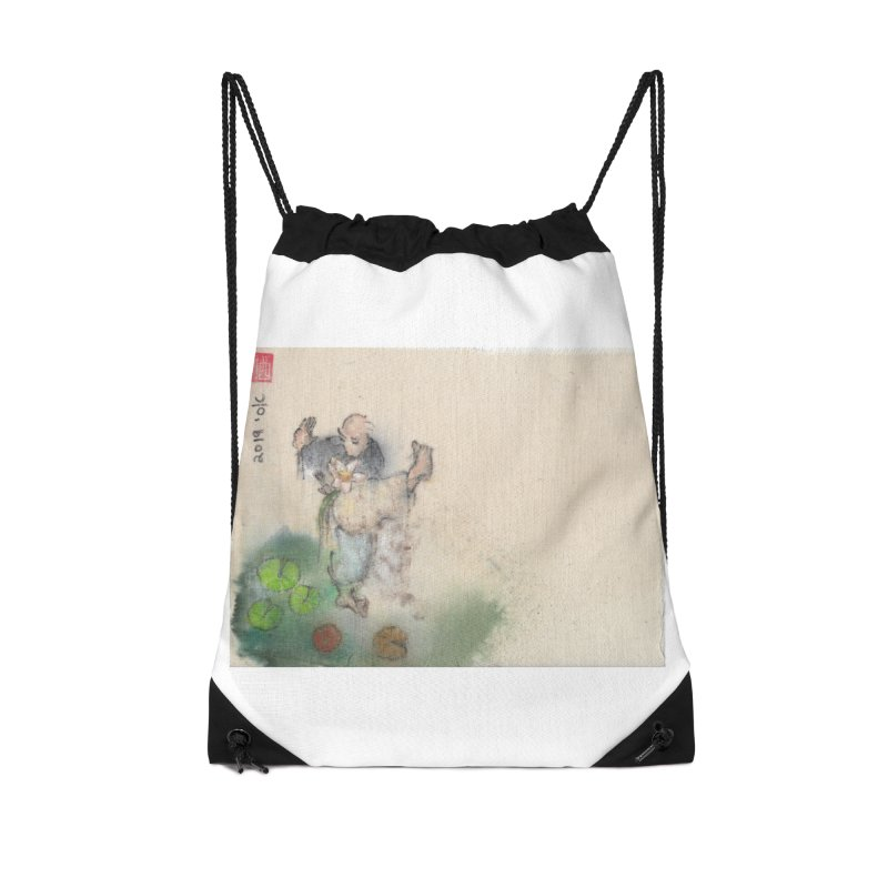 Turn Body And Sweep Lotus With Leg Accessories Drawstring Bag Bag by arttaichi's Artist Shop