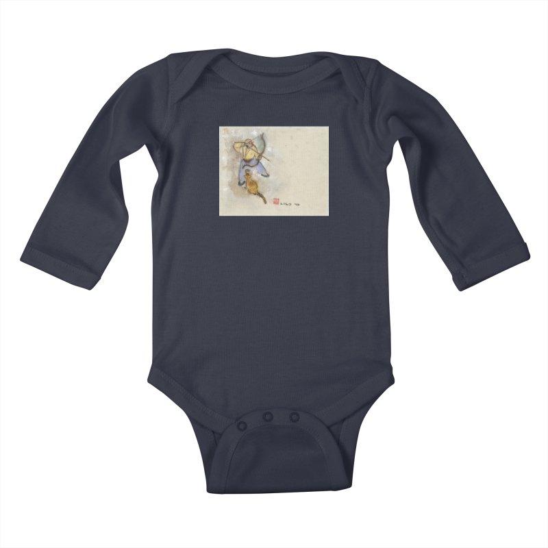 Bend Bow Arrow and a Cat Kids Baby Longsleeve Bodysuit by arttaichi's Artist Shop