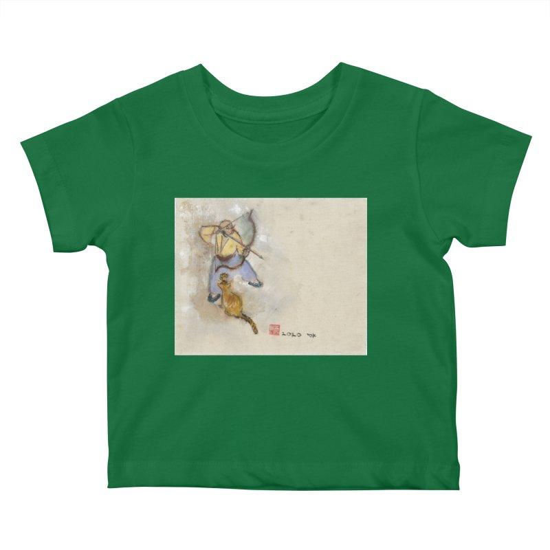 Bend Bow Arrow and a Cat Kids Baby T-Shirt by arttaichi's Artist Shop