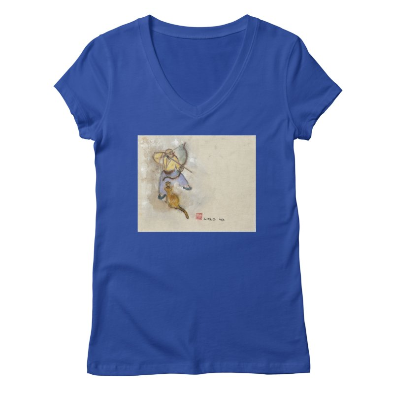 Bend Bow Arrow and a Cat Women's V-Neck by arttaichi's Artist Shop