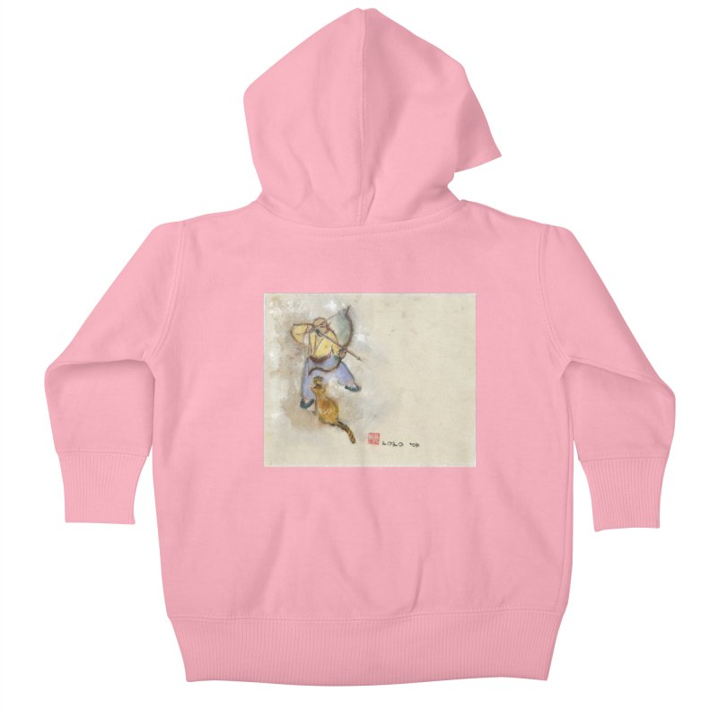 Bend Bow Arrow and a Cat Kids Baby Zip-Up Hoody by arttaichi's Artist Shop