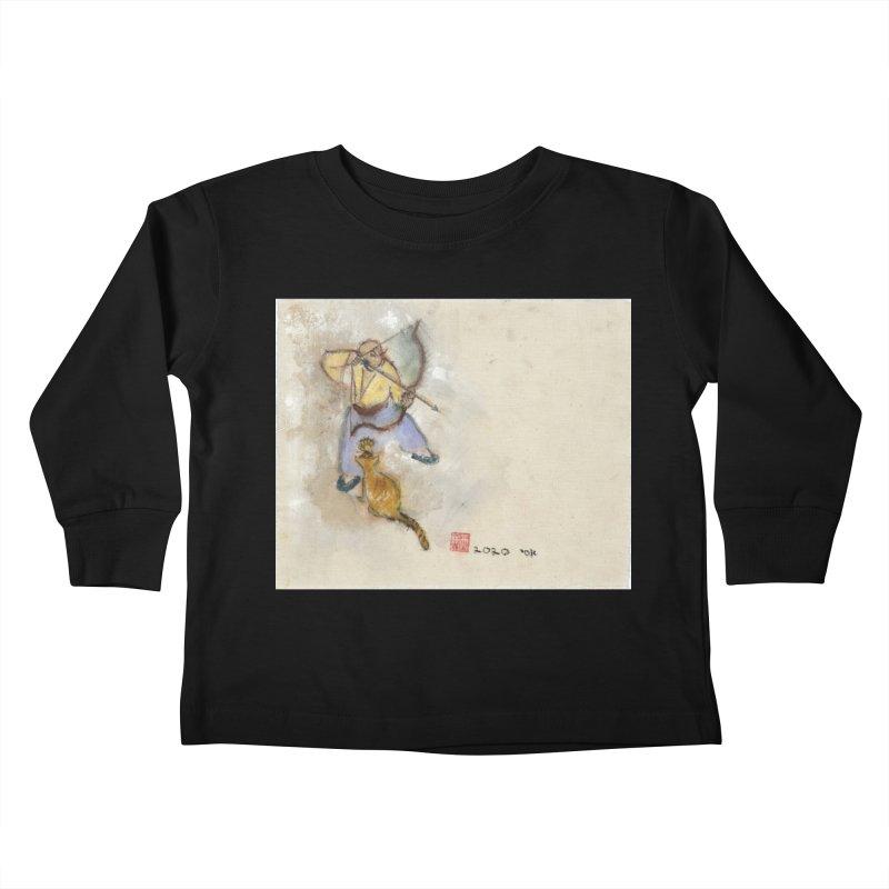 Bend Bow Arrow and a Cat Kids Toddler Longsleeve T-Shirt by arttaichi's Artist Shop