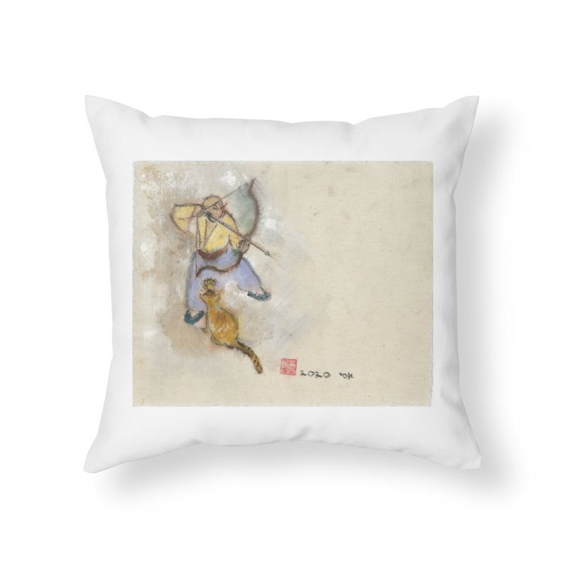 Bend Bow Arrow and a Cat Home Throw Pillow by arttaichi's Artist Shop