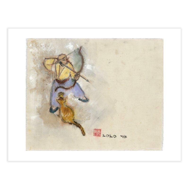 Bend Bow Arrow and a Cat Home Fine Art Print by arttaichi's Artist Shop