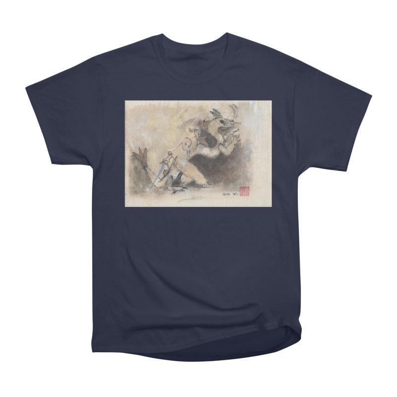 Black Dragon Wagging Tail Women's Heavyweight Unisex T-Shirt by arttaichi's Artist Shop