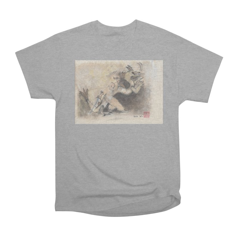 Black Dragon Wagging Tail Women's Heavyweight Unisex T-Shirt by arttaichi's Artist Shop