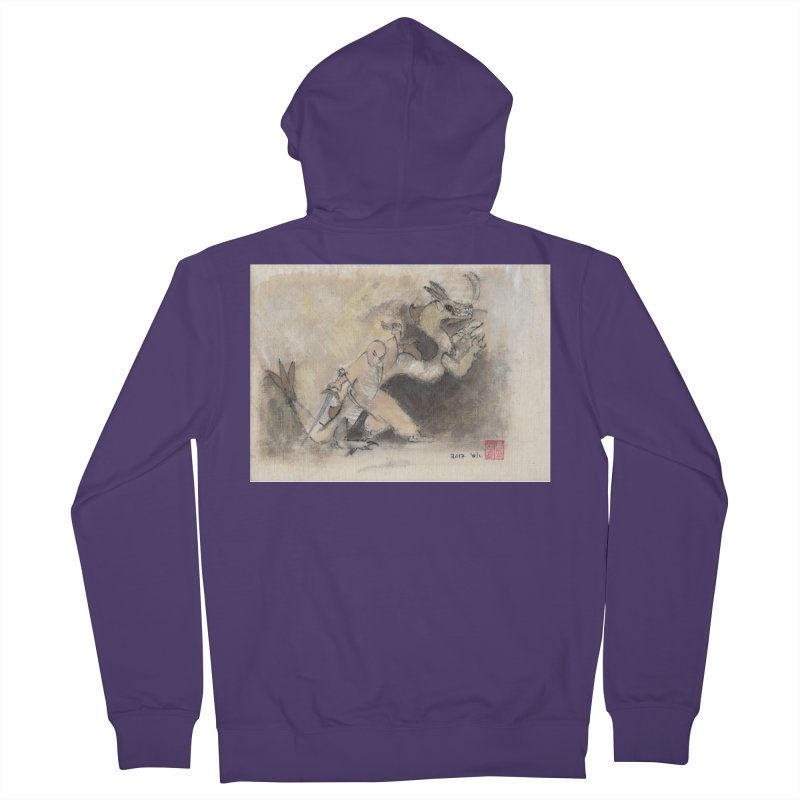 Black Dragon Wagging Tail Women's French Terry Zip-Up Hoody by arttaichi's Artist Shop