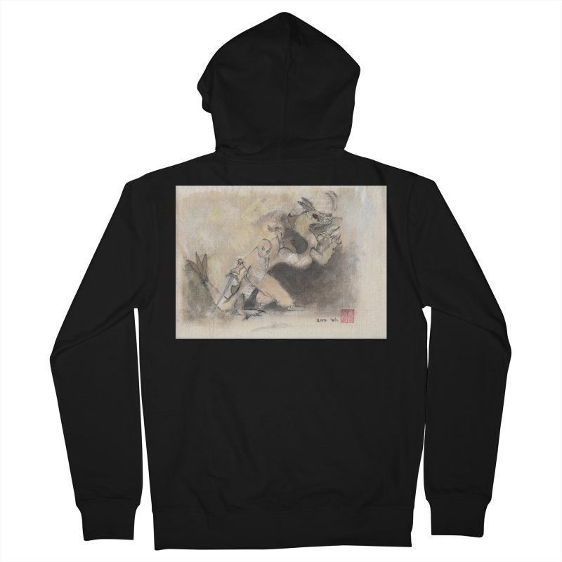 Black Dragon Wagging Tail Men's French Terry Zip-Up Hoody by arttaichi's Artist Shop