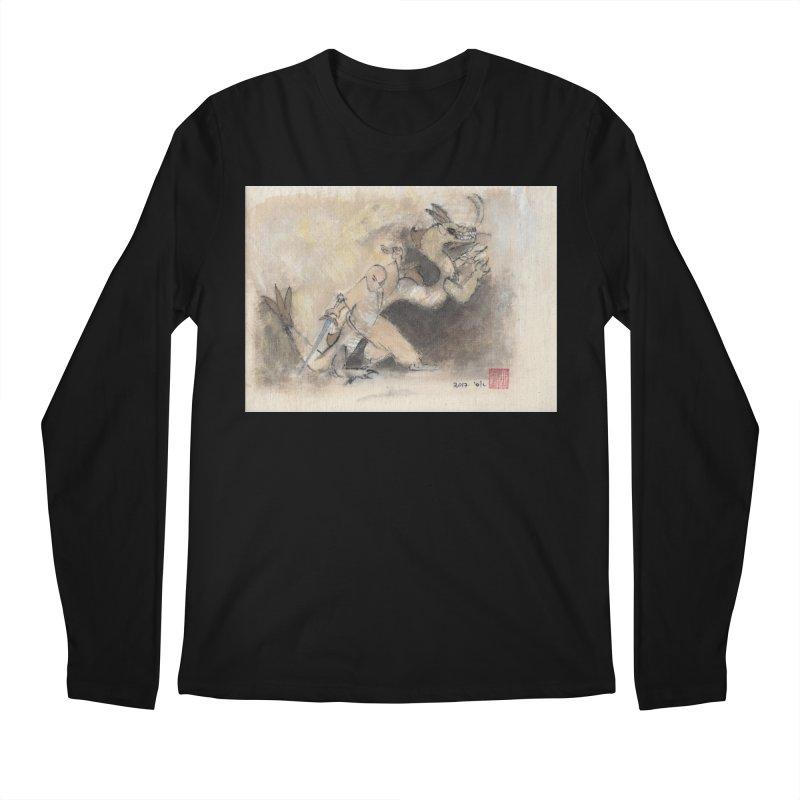 Black Dragon Wagging Tail Men's Regular Longsleeve T-Shirt by arttaichi's Artist Shop