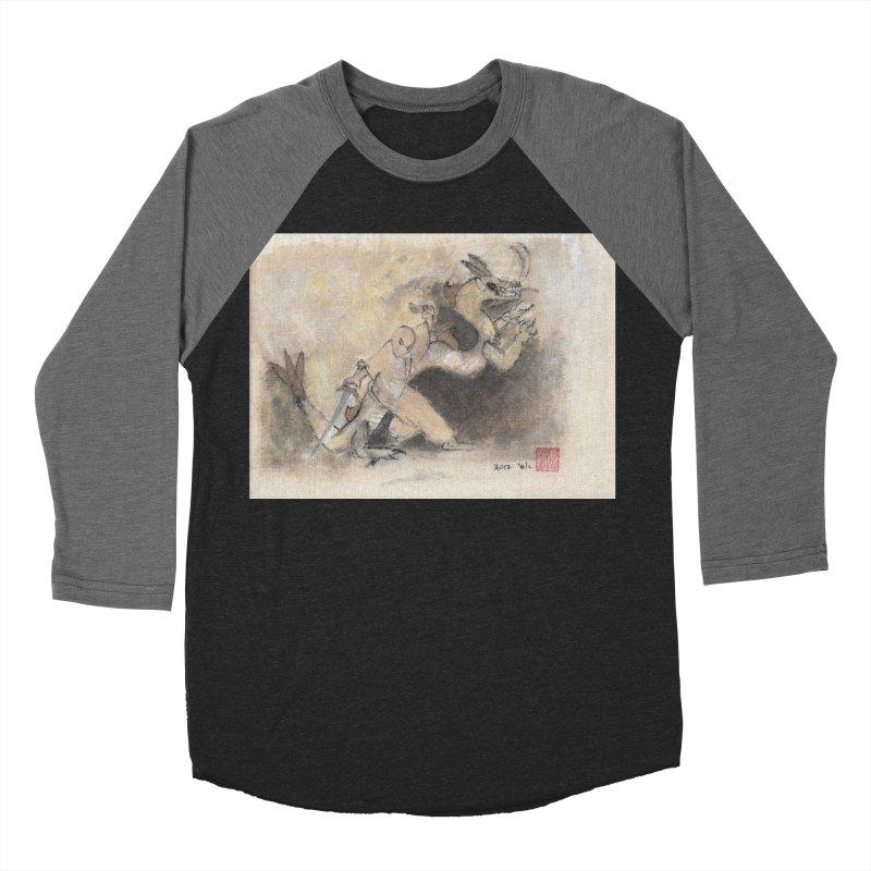 Black Dragon Wagging Tail Women's Baseball Triblend T-Shirt by arttaichi's Artist Shop