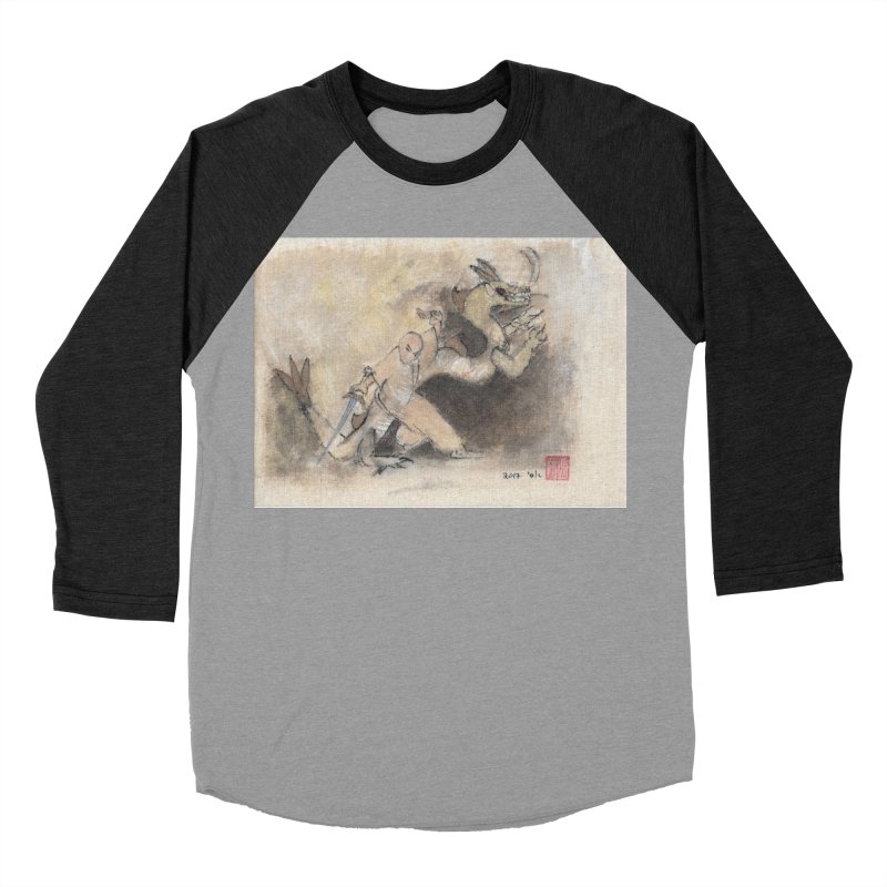 Black Dragon Wagging Tail Women's Baseball Triblend Longsleeve T-Shirt by arttaichi's Artist Shop