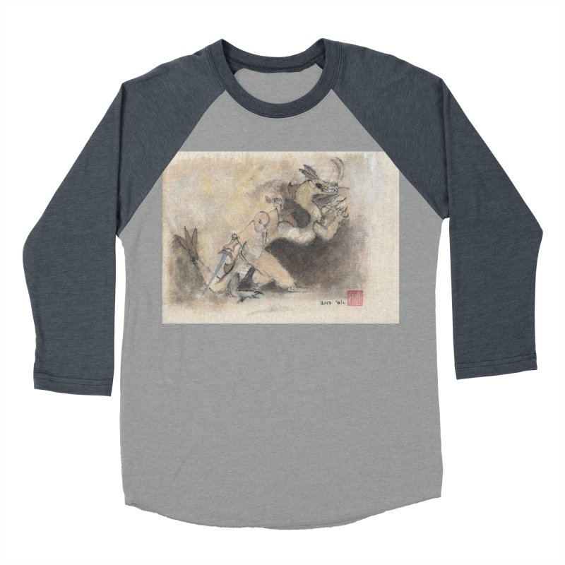 Black Dragon Wagging Tail Men's Baseball Triblend Longsleeve T-Shirt by arttaichi's Artist Shop