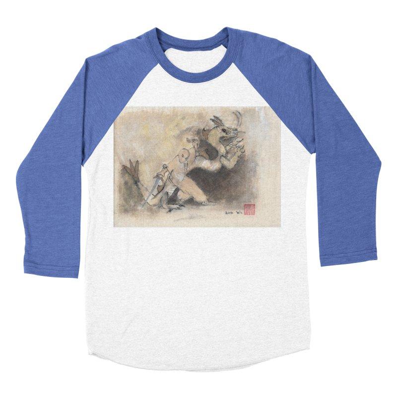 Black Dragon Wagging Tail Men's Baseball Triblend T-Shirt by arttaichi's Artist Shop