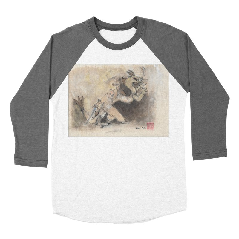 Black Dragon Wagging Tail Men's Baseball Triblend Longsleeve T-Shirt by arttaichi's Artist Shop