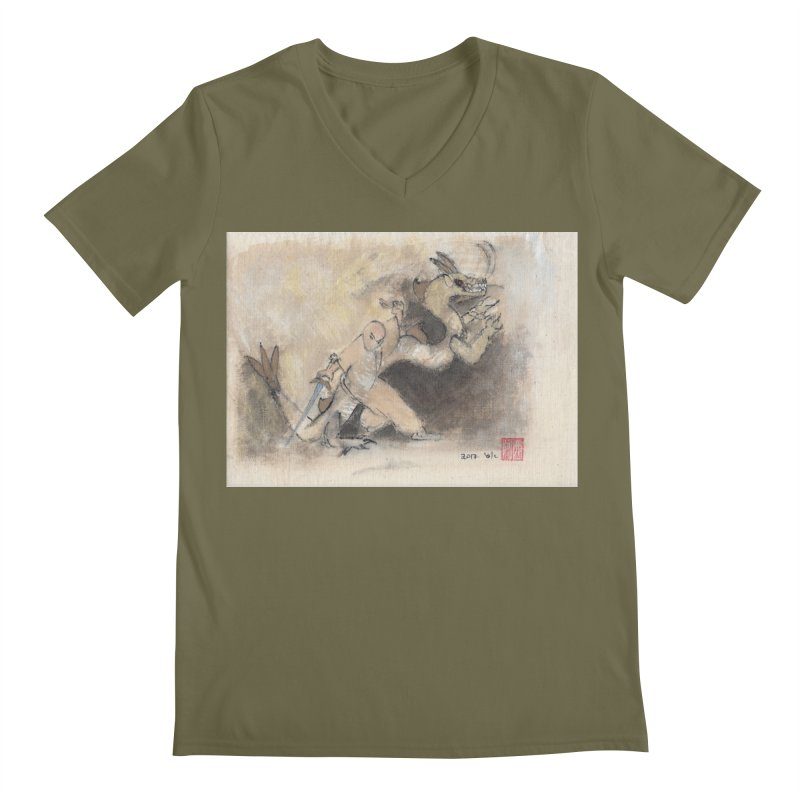 Black Dragon Wagging Tail Men's V-Neck by arttaichi's Artist Shop