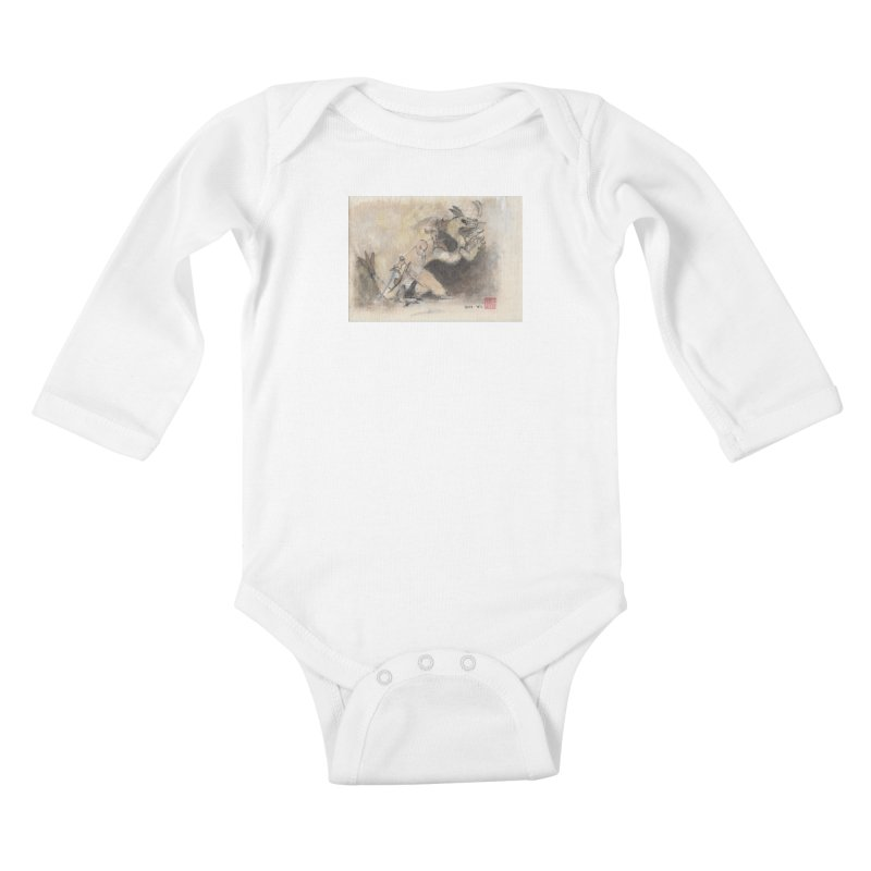 Black Dragon Wagging Tail Kids Baby Longsleeve Bodysuit by arttaichi's Artist Shop