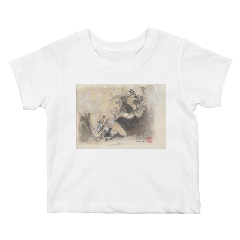 Black Dragon Wagging Tail Kids Baby T-Shirt by arttaichi's Artist Shop