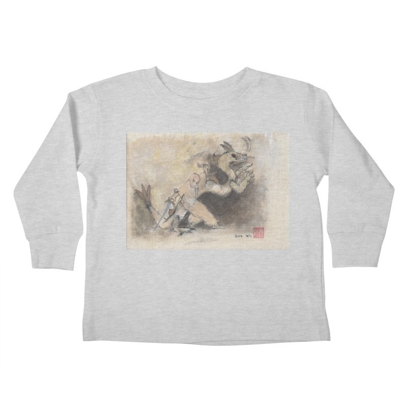 Black Dragon Wagging Tail Kids Toddler Longsleeve T-Shirt by arttaichi's Artist Shop