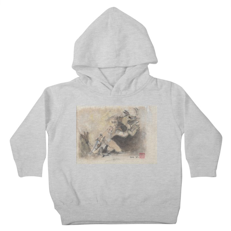 Black Dragon Wagging Tail Kids Toddler Pullover Hoody by arttaichi's Artist Shop