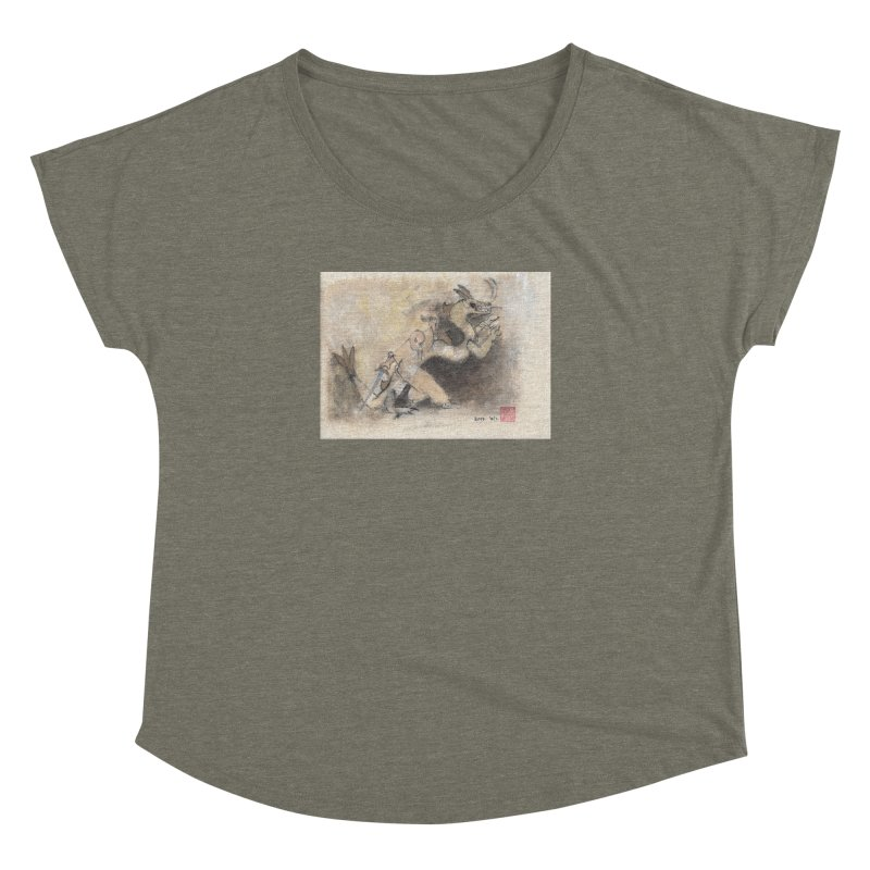 Black Dragon Wagging Tail Women's Dolman Scoop Neck by arttaichi's Artist Shop