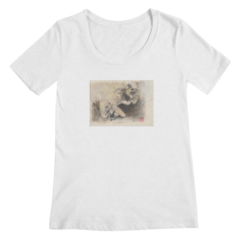 Black Dragon Wagging Tail Women's Regular Scoop Neck by arttaichi's Artist Shop