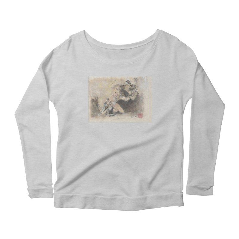 Black Dragon Wagging Tail Women's Scoop Neck Longsleeve T-Shirt by arttaichi's Artist Shop