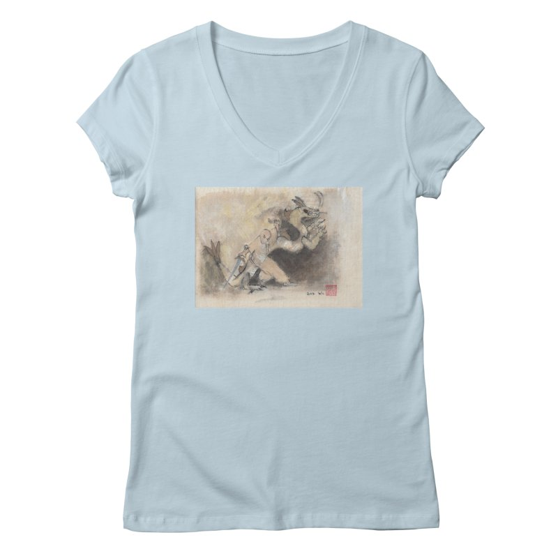 Black Dragon Wagging Tail Women's Regular V-Neck by arttaichi's Artist Shop