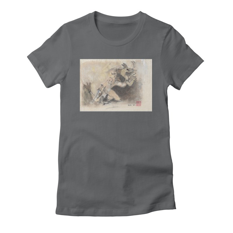 Black Dragon Wagging Tail Women's Fitted T-Shirt by arttaichi's Artist Shop