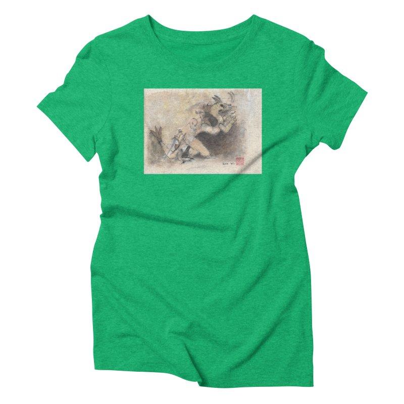 Black Dragon Wagging Tail Women's Triblend T-shirt by arttaichi's Artist Shop