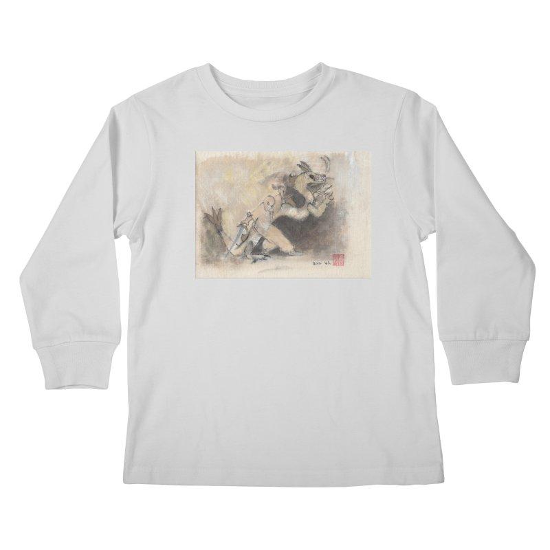 Black Dragon Wagging Tail Kids Longsleeve T-Shirt by arttaichi's Artist Shop