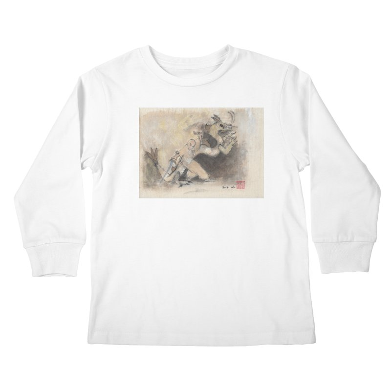 Black Dragon Wagging Tail Kids Longsleeve T-Shirt by arttaichi's Artist Shop