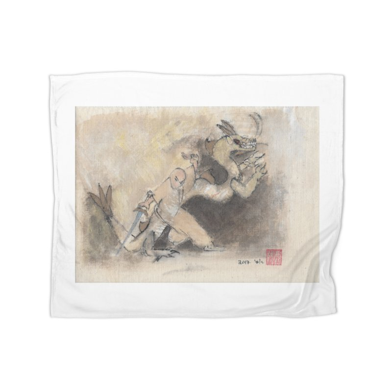 Black Dragon Wagging Tail Home Blanket by arttaichi's Artist Shop