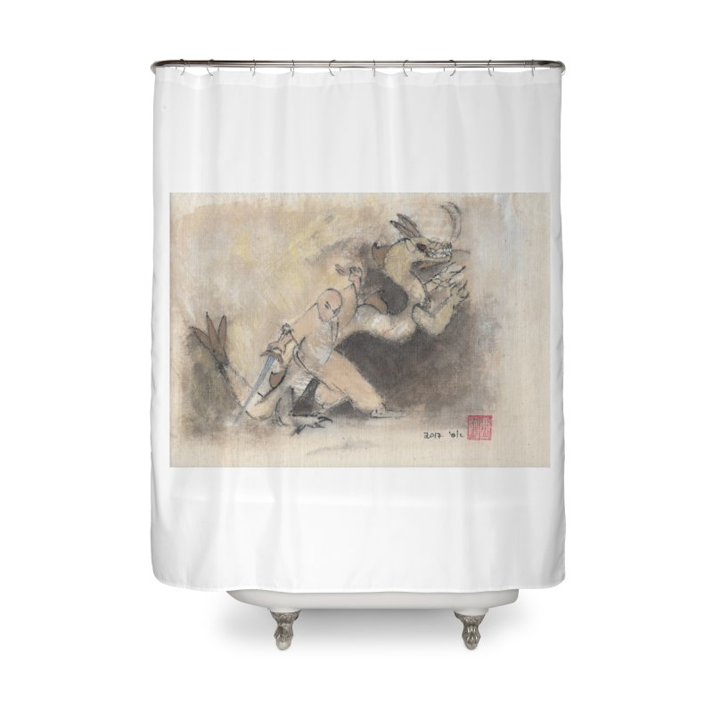 Black Dragon Wagging Tail Home Shower Curtain by arttaichi's Artist Shop