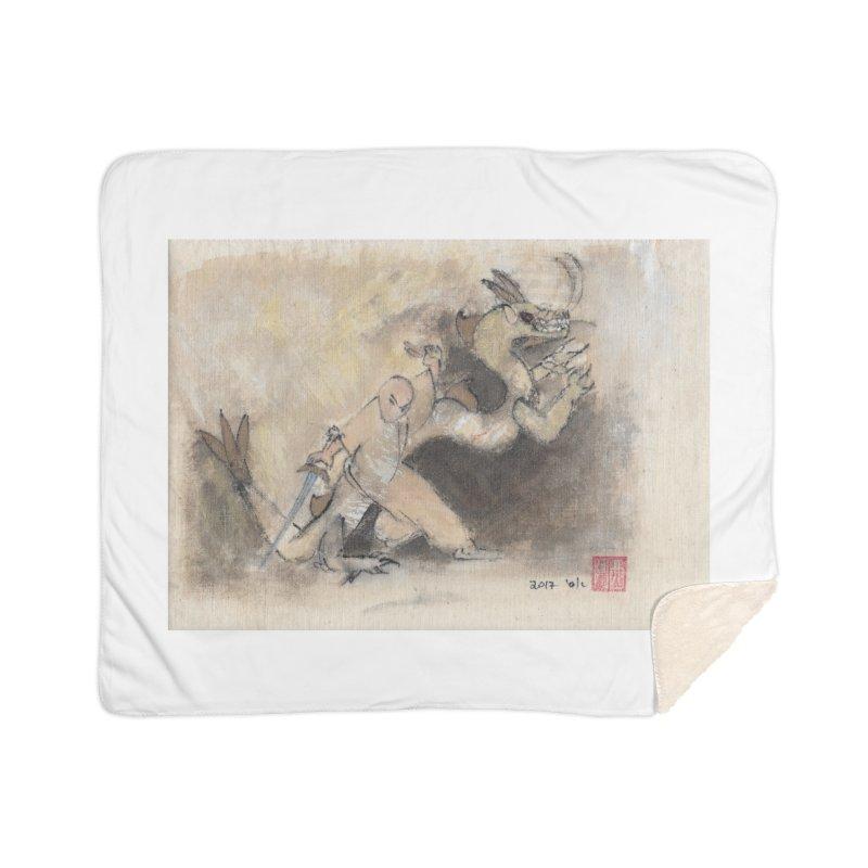 Black Dragon Wagging Tail Home Sherpa Blanket Blanket by arttaichi's Artist Shop