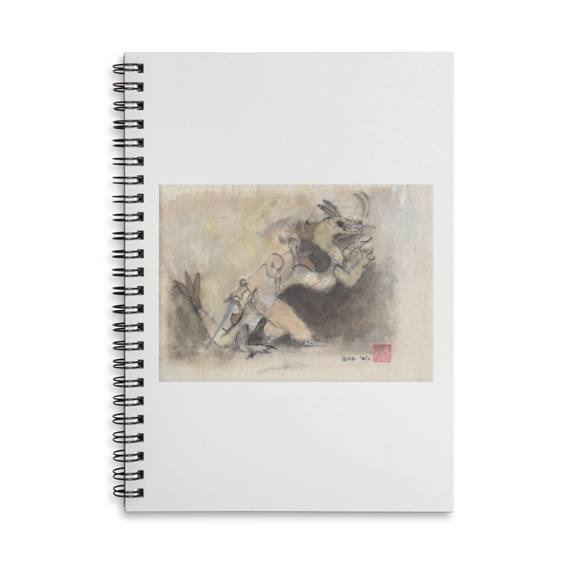 Black Dragon Wagging Tail Accessories Lined Spiral Notebook by arttaichi's Artist Shop