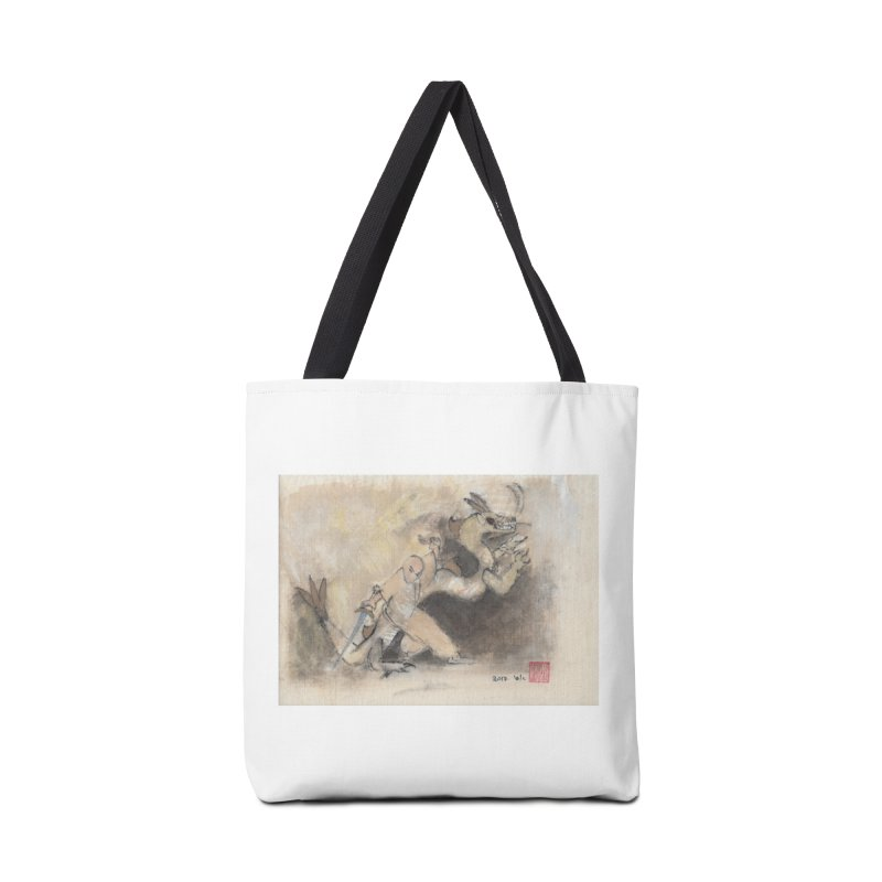 Black Dragon Wagging Tail Accessories Tote Bag Bag by arttaichi's Artist Shop