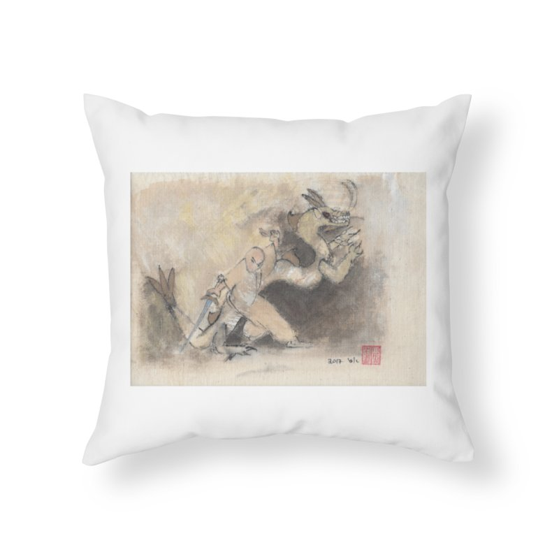 Black Dragon Wagging Tail Home Throw Pillow by arttaichi's Artist Shop