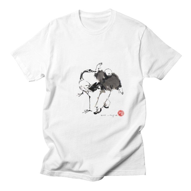White Crane Spreading Wings Men's T-Shirt by arttaichi's Artist Shop