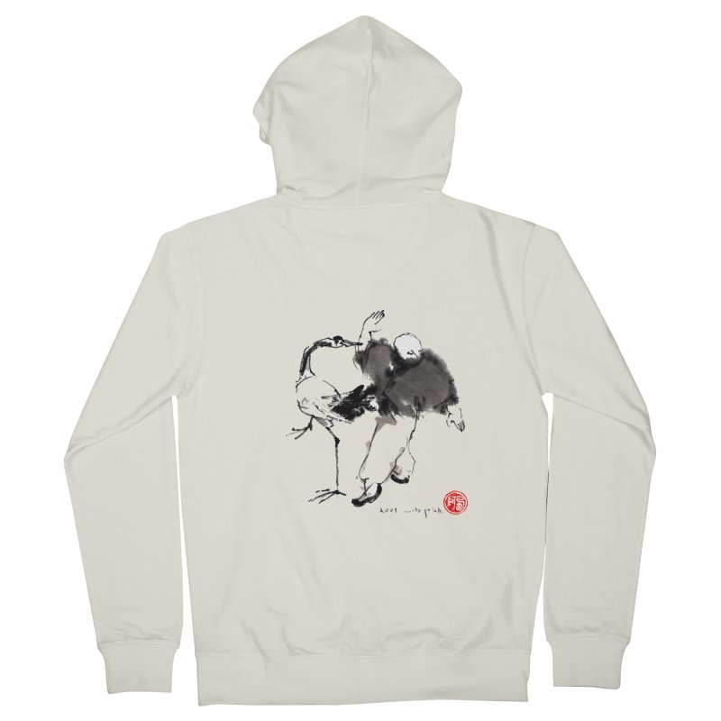 White Crane Spreading Wings Women's French Terry Zip-Up Hoody by arttaichi's Artist Shop
