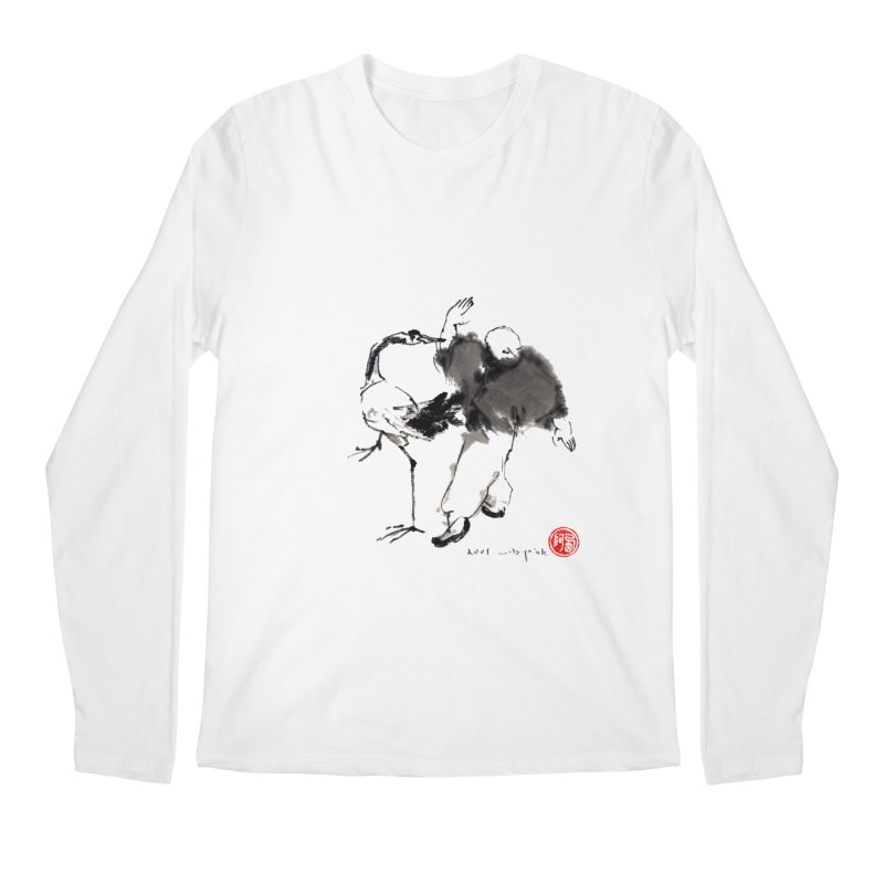 White Crane Spreading Wings Men's Regular Longsleeve T-Shirt by arttaichi's Artist Shop