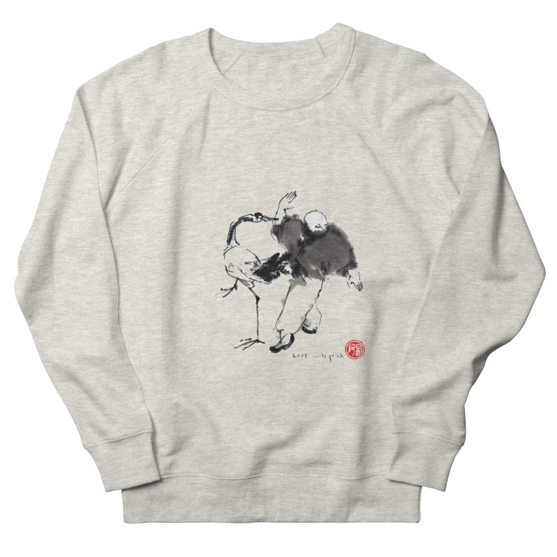 White Crane Spreading Wings Men's French Terry Sweatshirt by arttaichi's Artist Shop