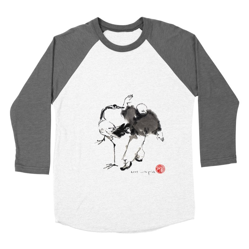 White Crane Spreading Wings Men's Baseball Triblend Longsleeve T-Shirt by arttaichi's Artist Shop