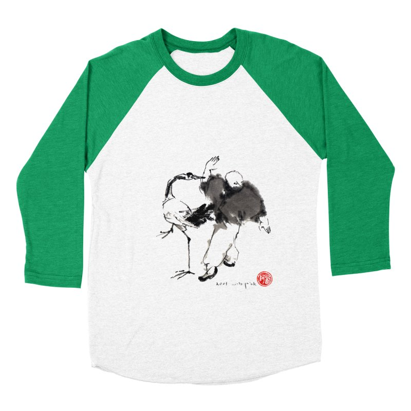 White Crane Spreading Wings Men's Baseball Triblend Longsleeve T-Shirt by arttaichi's Artist Shop