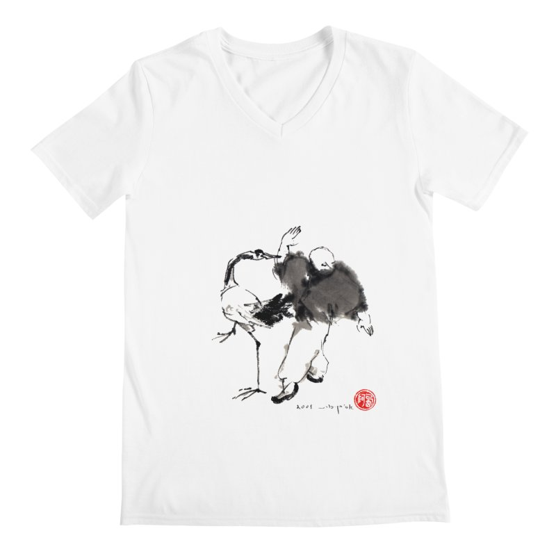 White Crane Spreading Wings Men's V-Neck by arttaichi's Artist Shop